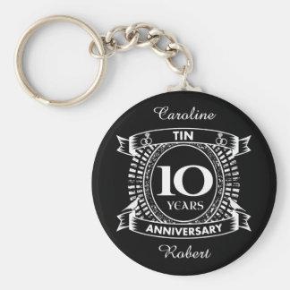 10o lata do aniversário de casamento chaveiro
