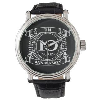 10o lata do aniversário de casamento relógio de pulso