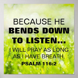 116:2 do salmo do verso da bíblia pôster