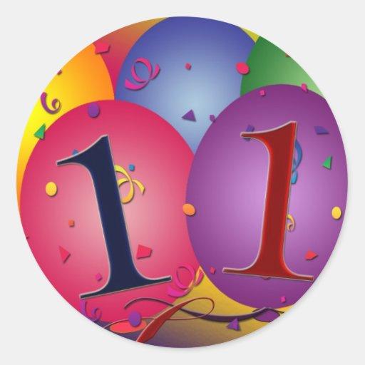 11o Decorações do balão da festa de aniversário Adesivos Em Formato Redondos
