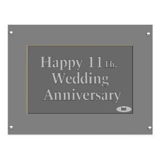 11o feliz. Aço do aniversário de casamento Cartão Postal