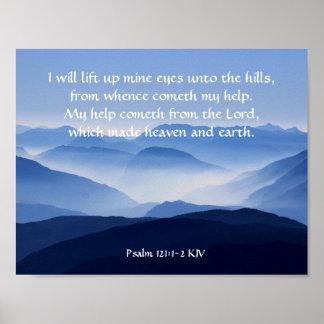 121:1 do salmo - 2 meu cometh da ajuda do SENHOR Pôster
