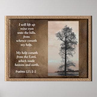 121:1 dos salmos - ~Lift 2 acima do impressão da