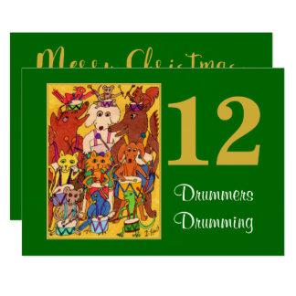 12 bateristas que rufam os animais bonitos convite 12.7 x 17.78cm