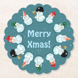 12 bonecos de neve felizes porta-copo de papel