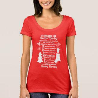 12 dias do Natal de Derby do rolo, patinagem de Camiseta