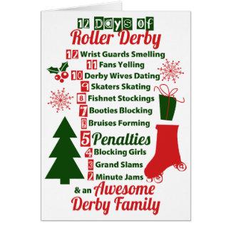 12 dias do Natal de Derby do rolo, patinagem de Cartão Comemorativo
