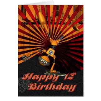 12o Aniversário, cartão de aniversário do robô do