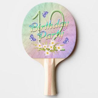 12o Arco-íris e borboletas da festa de aniversário Raquete De Ping-pong