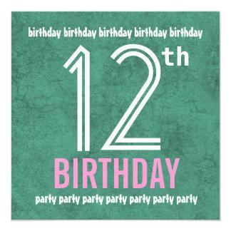 12o Cerceta moderna da festa de aniversário e Convites Personalizado