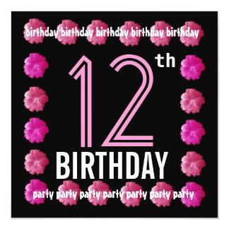12o Flores cor-de-rosa da festa de aniversário Convites Personalizado
