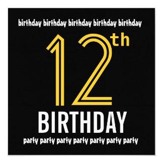 12o Ouro moderno e preto da festa de aniversário Convite Personalizados