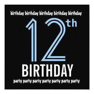 12o Reciclado azul da festa de aniversário e preto Convites