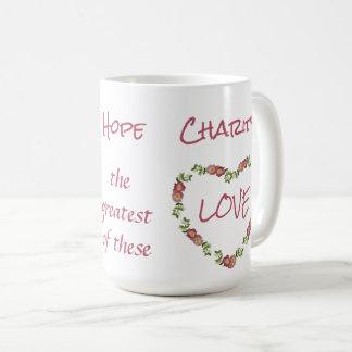 13:13 dos Corinthians da caridade 1 da esperança Caneca De Café