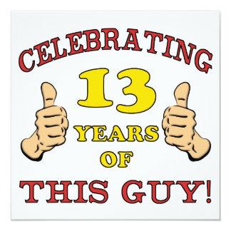 13o aniversário engraçado para meninos convites personalizado