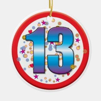 13o Aniversário v2 Ornamento De Cerâmica Redondo