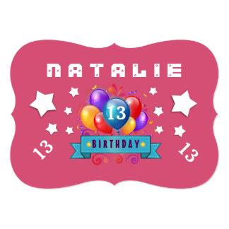 13o Balões do aniversário e estrelas festivos B113 Convite