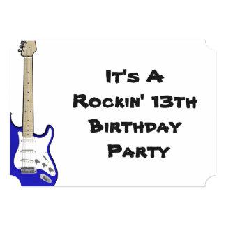 13o Guitarra do convite do aniversário, a azul e a