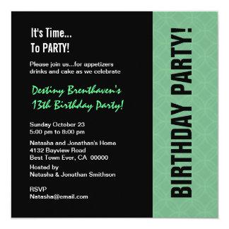 13o Hortelã moderna do aniversário adolescente e Convites Personalizado
