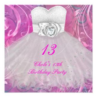 13o Meninas de festa de aniversário 13 adolescente Convite Personalizado