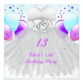13o Meninas de festa de aniversário 13 Convite Quadrado 13.35 X 13.35cm
