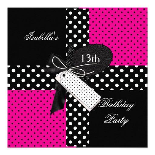 13o Meninas do adolescente da festa de aniversário Convites