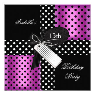 13o Meninas do adolescente da festa de aniversário Convite Personalizado