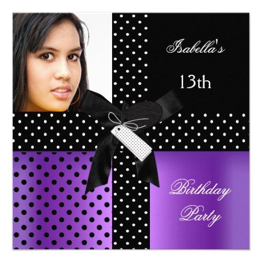 13o Meninas do adolescente da festa de aniversário Convites Personalizado