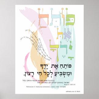 """145:15 do salmo """"você abre transliteração da sua poster"""
