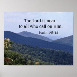 145:18 do salmo o senhor é próximo a tudo que pôster
