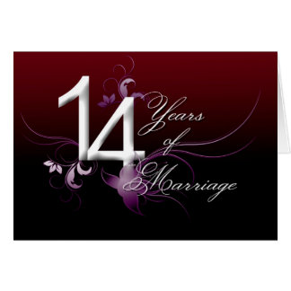 14 anos de casamento (aniversário de casamento) cartão comemorativo