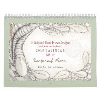 14 desenhos originais, calendário 2018