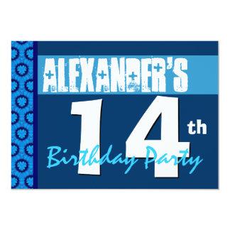 14o Convite de aniversário adolescente azul