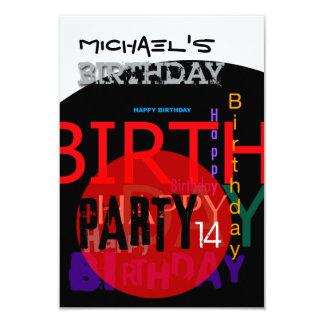 14o convite de aniversário feliz tipográfico