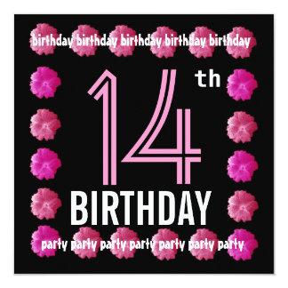 14o Flores cor-de-rosa da festa de aniversário Convite Personalizados
