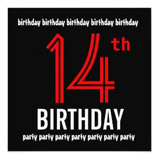 14o Número moderno do preto e da cor da festa de Convite Personalizados