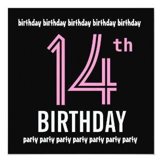 14o Número moderno do preto e da cor da festa de Convite Quadrado 13.35 X 13.35cm