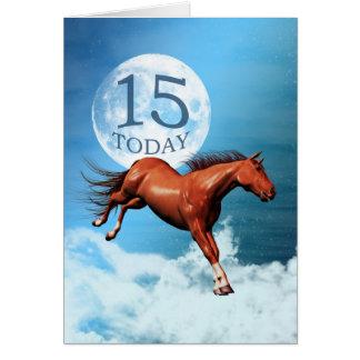15 anos de cartão de aniversário velho com cavalo