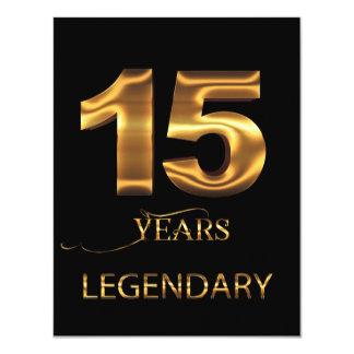 15 anos de cartão legendário convite 10.79 x 13.97cm