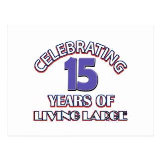 15 anos de design do aniversário cartoes postais