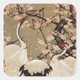 15. o 梅花群鶴図, ameixa do 若冲 floresce & guindastes, adesivo quadrado