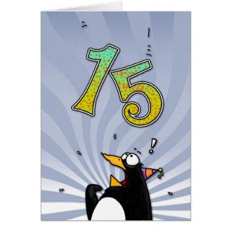 15o aniversário - cartão da surpresa do pinguim