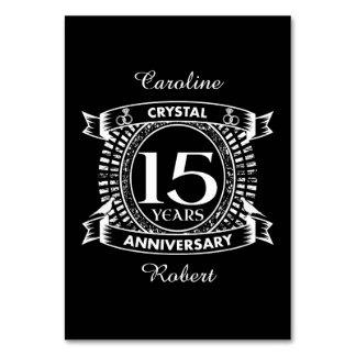 15o aniversário de casamento preto e branco cartão