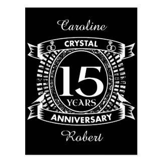 15o aniversário de casamento preto e branco cartão postal