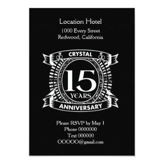 15o aniversário de casamento preto e branco convite 12.7 x 17.78cm