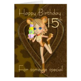15o Cartão de aniversário, coleção do animal da