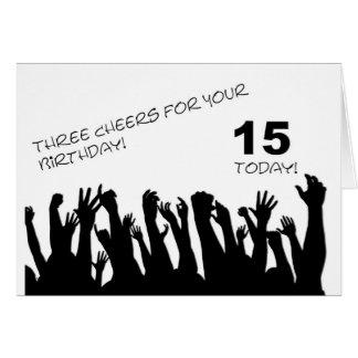 15o Cartão de aniversário com os aplausos que acen