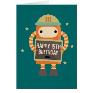 15o Cartão do vintage do robô do aniversário
