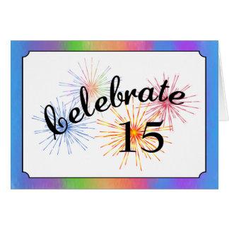 15o Celebração do aniversário Cartao