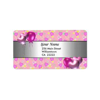 15o Etiqueta de endereço cor-de-rosa dos corações